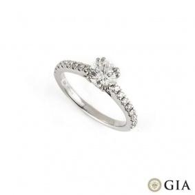 18k White Gold Round Brilliant Cut Diamond Ring 0.67ct H/VS2